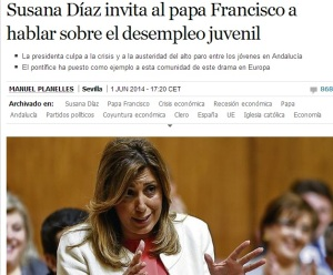 Susana Díaz, abriendo el PSOE a la sociedad. Con sus manos, nos muestra el tamaño del bujero que abre.